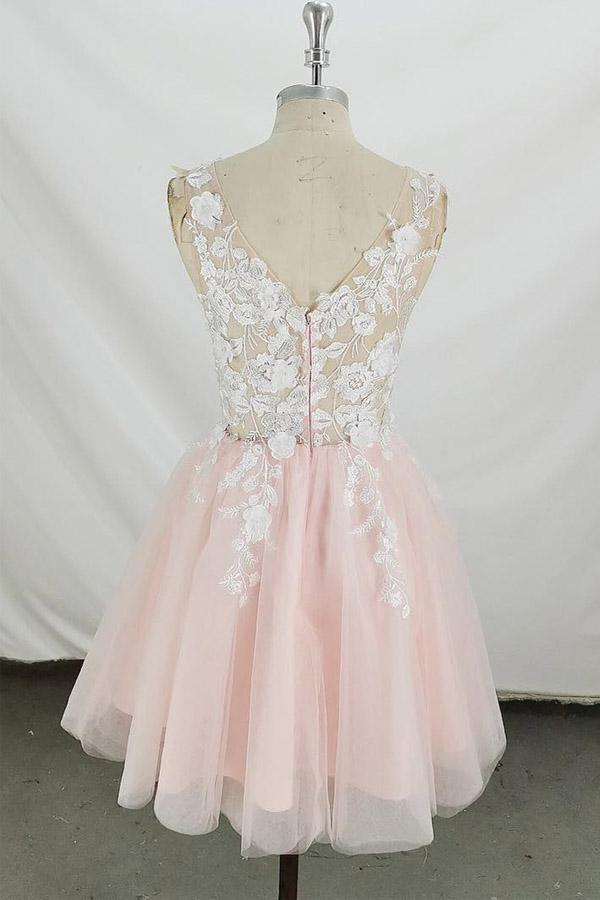 Pink Tulle A-line V Neck Sleeveless Open back Short Homecoming Dress PH351 |www.promnova.com