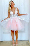 Pink Tulle A-line V Neck Sleeveless Open back Short Homecoming Dress |www.promnova.com