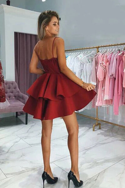 Red Appliqued Spaghetti Straps Homecoming Dresses With Beading |promnova.com