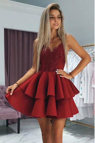 Red Appliqued Spaghetti Straps Homecoming Dresses With Beading|www.promnova.com
