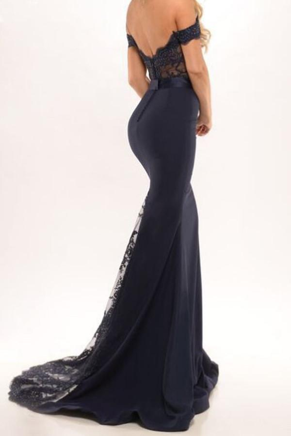 Mermaid Open Back Off the Shoulder Navy Blue Prom Dress With Sash |www.promnova.com