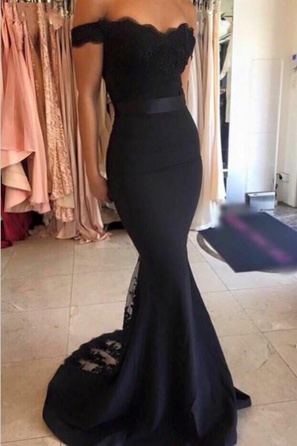 Mermaid Open Back Off the Shoulder Navy Blue Prom Dress With Sash | promnova.com