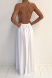 Sexy White Chiffon V-neck Spaghetti Strap Prom Dress With Front Split PL339 | www.promnova.com