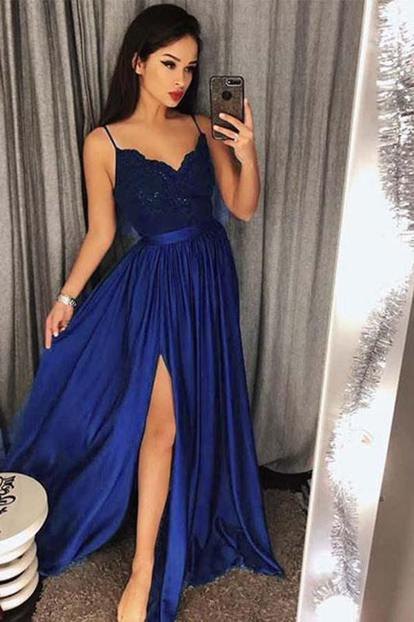 Sexy Lace Blue/ Green V-Neck Bodice Prom Dress Evening Dres Slit Side| promnova.com