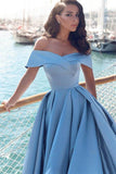 A-line Off-the-Shoulder Satin Glamorous  Long Evening Dress With Slit |www.promnova.com