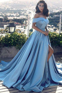 A-line Off-the-Shoulder Satin Glamorous  Long Evening Dress With Slit | promnova.com