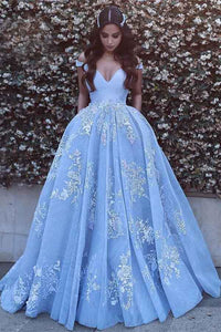 Blue Tulle Ball Gown Off Shoulder Sweep Train Backless Prom Dress| promnova.com