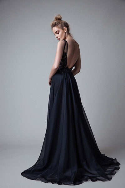 A Line V-neck Backless Long Prom Dresses Sexy Evening Party Dresses|www.promnova.com