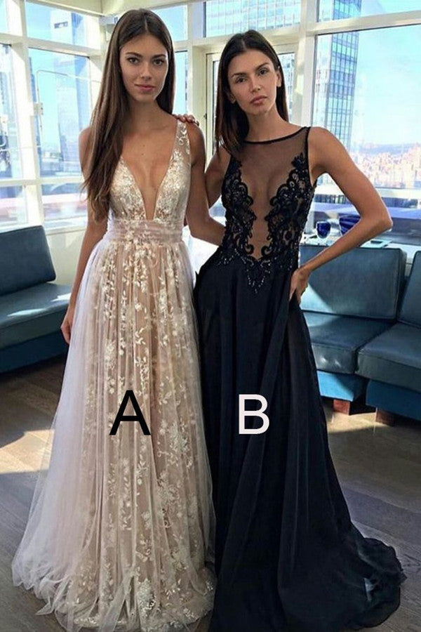 A Line V-neck Backless Long Prom Dresses Sexy Evening Party Dresses PL349
