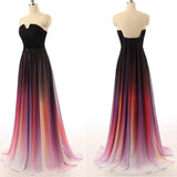 Chiffon Off Shoulder Backless Black Navy Blue Ombre Long Prom Dress |www.promnova.com