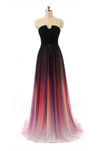 Chiffon Off Shoulder Backless Black Navy Blue Ombre Long Prom Dress |promnova.com
