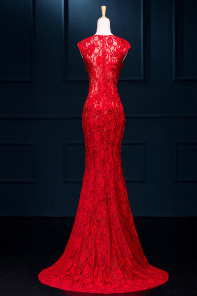 Sexy Red See Through Split Mermaid Long Prom Dress Lace Evening Dresses |www.promnova.com