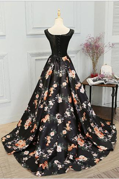 A Line Sleeveless Long Floral Printed Prom Dress Round Neck Evening Dress PL354 |www.promnova.com