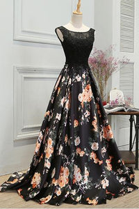 A Line Sleeveless Long Floral Printed Prom Dress Round Neck Evening Dress |promnova.com