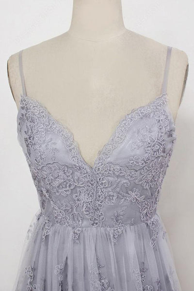 Sweep Train Backless Lavender Tulle with Appliques Sheath Spaghetti Straps Prom Dresses |www.promnova.com