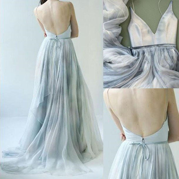 Long Backless V-neck Senior Spaghetti Straps Sleeveless Prom Dress Formal Dresses PL360|www.promnova.com