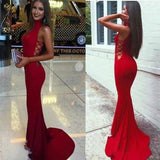 Sexy Satin White Mermaid Sleeveless High Neck Long Prom Dresses |promnova.com