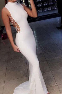 Sexy Satin White Mermaid Sleeveless High Neck Long Prom Dresses |www.promnova.com