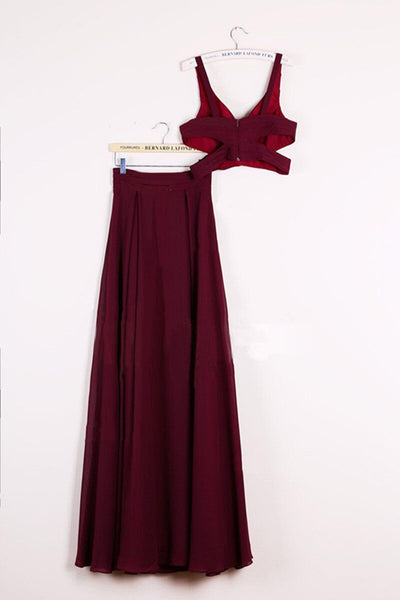 Cheap Two Piece Chiffon A-line Floor-length Burgundy Prom Dresses |promnova.com