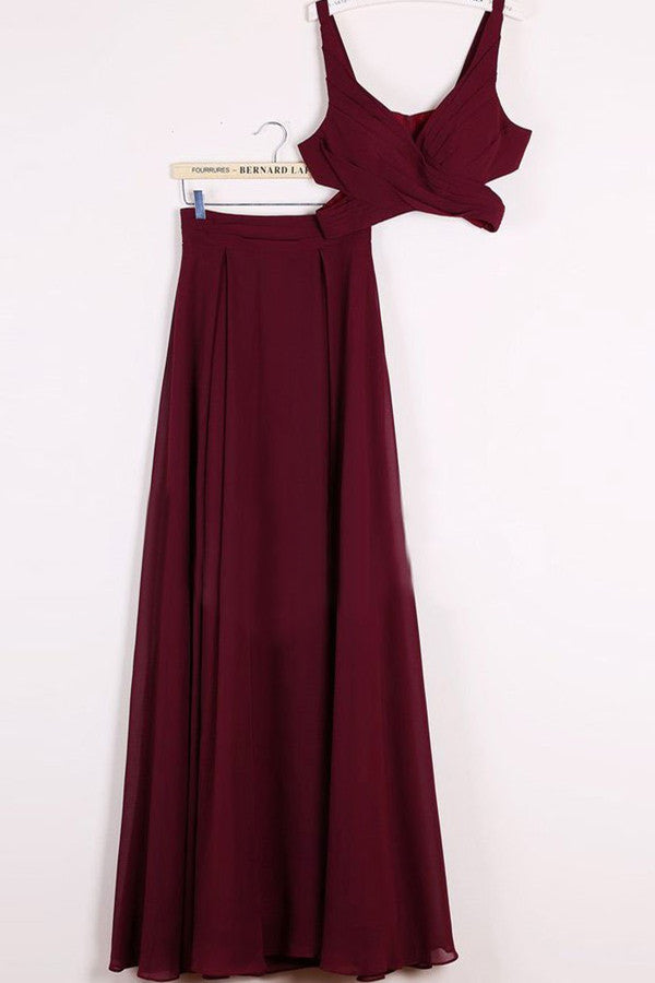 Cheap Two Piece Chiffon A-line Floor-length Burgundy Prom Dresses|www.promnova.com