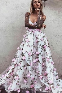 Beautiful Spaghetti Straps Prom Dresses Floral Lace Long Evening Dress |www.promnova.com