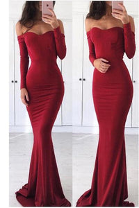 Sexy Simple Mermaid Burgundy Prom Dresses Trumpet Short Train Long Prom Dress |www.promnova.com