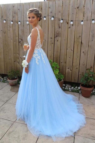 Elegant A line V neck Blue Backless Tulle Lace Long Prom Dresses Formal Dresses |promnova.com
