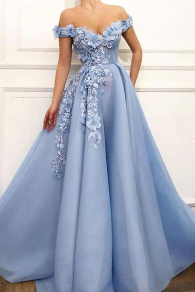 Beautiful Sky Blue Satin Off Shoulder Flower Appliques Long Prom Dresses |www.promnova.com