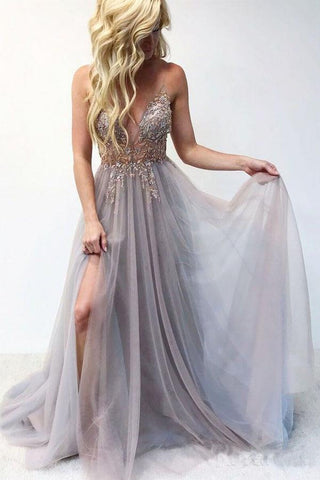 Sexy Tulle V Neck Spaghetti Straps Beaded Long Prom Dresses|www.promnova.com