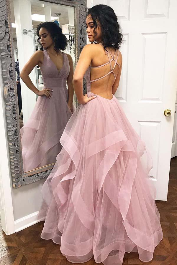 Sexy Tulle Pink Ruffled Long Prom Dress with Criss Cross Back|www.promnova.com