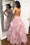 Sexy Tulle Pink Ruffled Long Prom Dress with Criss Cross Back  PL368