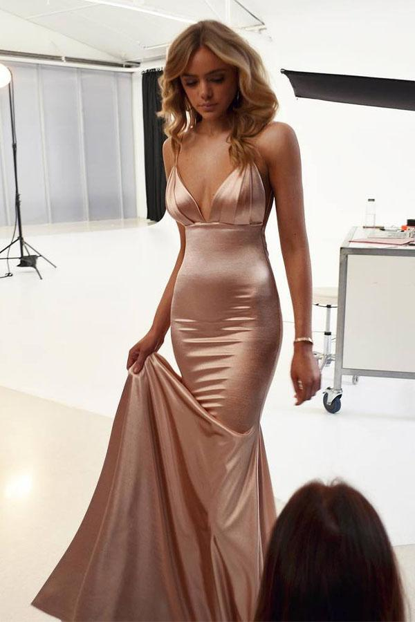 Mermaid Elegant Spaghetti Straps Long Bridesmaid Backless Prom Dresses|www.promnova.com
