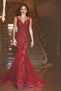 da880cc30e6 Sweep Train Mermaid Sequins Glamorous Burgundy Prom Dress With  Appliques