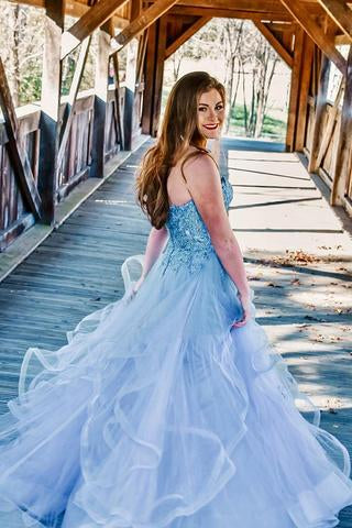 Off Shoulder Blue Ruffles Charming Strapless Long Prom Dress with Appliques |promnova.com