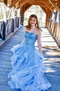 Off Shoulder Blue Ruffles Charming Strapless Long Prom Dress with Appliques |www.promnova.com