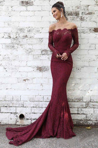 Lace Maroon Mermaid Long Sleeve Off the Shoulder Prom Dresses Evening Dress |www.promnova.com