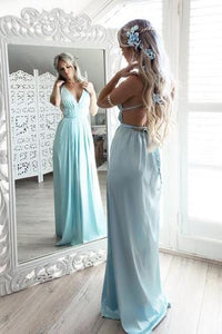 A-Line V Neck Spaghetti Straps Floor-length Chiffon Long Prom Dress |www.promnova.com