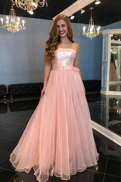 Pink Tulle A-Line Strapless Off Shoulder Floor-Length Prom Dress with Belt |www.promnova.com