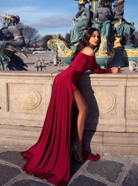 Chiffon Burgundy Long Sleeves Off Shoulder Elegant Prom Dress with Split PL380|promnova.com
