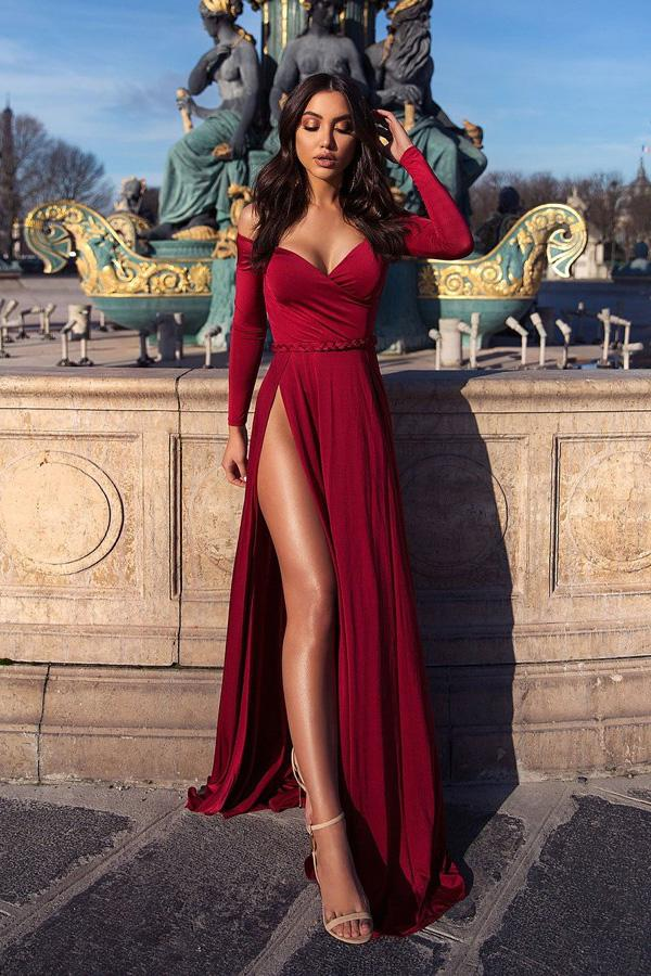 Chiffon Burgundy Long Sleeves Off Shoulder Elegant Prom Dress with Split |www.promnova.com