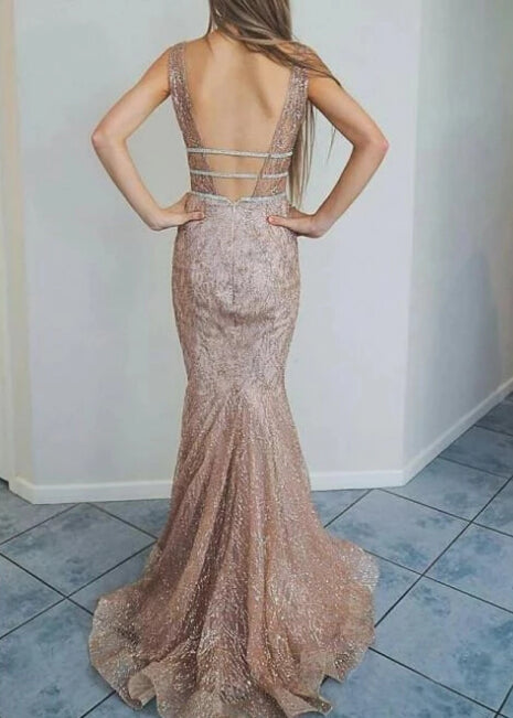 Cheap Mermaid Spaghetti Straps Backless Ivory Lace Long Prom Dresses |promnova.com