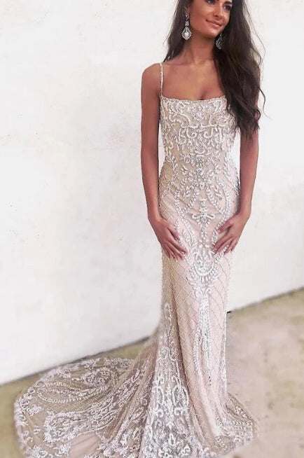 Cheap Mermaid Spaghetti Straps Backless Ivory Lace Long Prom Dresses |www.promnova.com