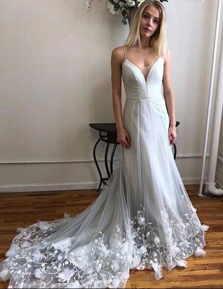 Cheap White Tulle Spaghetti Strap Long Prom Dresses With Lace Applique PL384|promnova.com