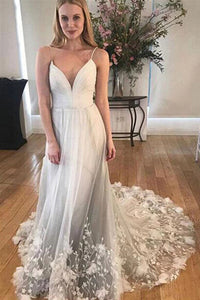 Cheap White Tulle Spaghetti Strap Long Prom Dresses With Lace Applique |www.promnova.com