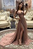 Chiffon Rose Gold Spaghetti Straps Cheap Long Evening Prom Dresses Party Dress PL386