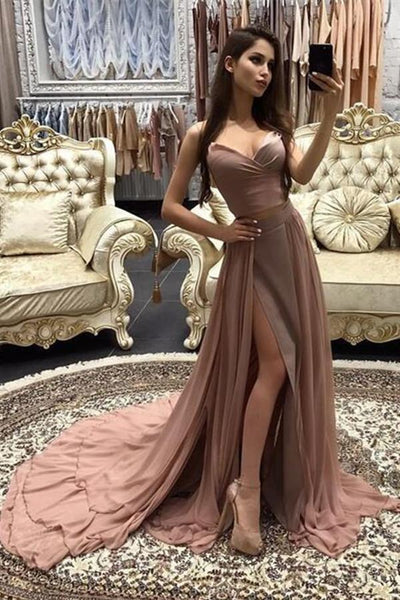 Chiffon Rose Gold Spaghetti Straps Cheap Long Evening Prom Dresses Party Dress|www.promnova.com