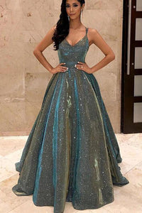 Green Sequins Sparkly Spaghetti Straps Backless Prom Dresses Party Dresses|www.promnova.com