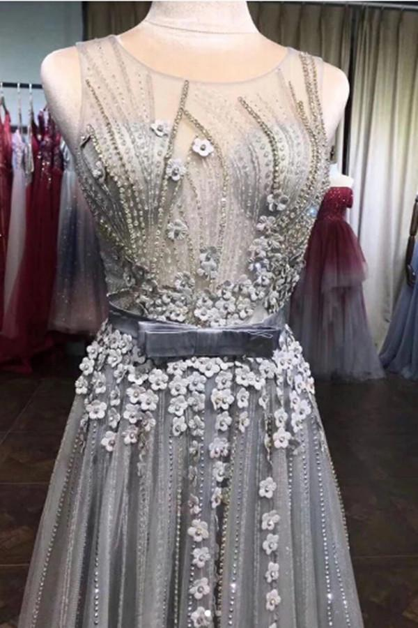 Grey Tulle Beads Round Neck 3D Flowers A Line Long Prom Dresses with Belt PL388|www.promnova.com
