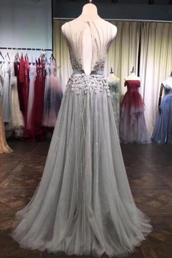 Grey Tulle Beads Round Neck 3D Flowers A Line Long Prom Dresses with Belt |promnova.com
