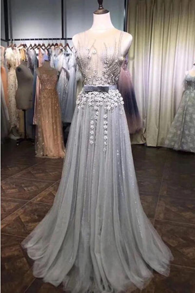 Grey Tulle Beads Round Neck 3D Flowers A Line Long Prom Dresses with Belt |www.promnova.com